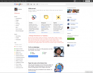 Google+ Willkommens-Bildschirm
