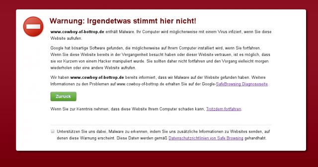 Google Malware-Warnung